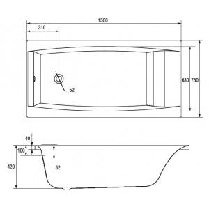 Акриловая ванна Virgo 150х75