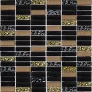Мозаика черная-бежевая-золото рельеф