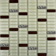Мозаика охра-коричневая-платина рельеф микс