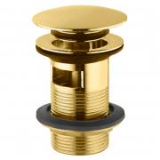 Донный клапан для раковины Click-Clack с переливом, золото