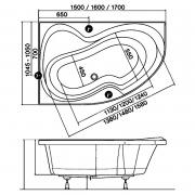 Акриловая ванна Rosa II 160x105 левая PU PLUS