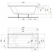 Акриловая ванна Opal Plus 150x70