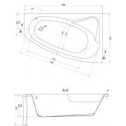 Акриловая ванна Sicilia 150х100 R