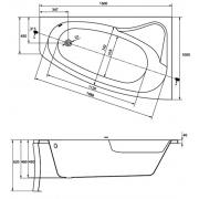 Акриловая ванна Sicilia 160x100 R