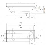 Акриловая ванна Opal Plus 170x70