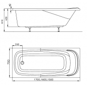 Акриловая ванна Vanda II 150x70